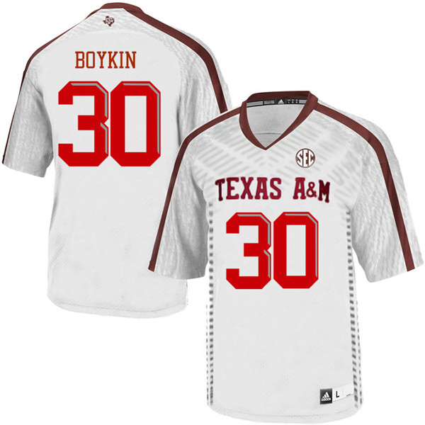 Men #30 Andrew Boykin Texas Aggies College Football Jerseys Sale-White