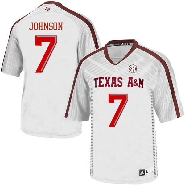 Men #7 Buddy Johnson Texas Aggies College Football Jerseys Sale-White