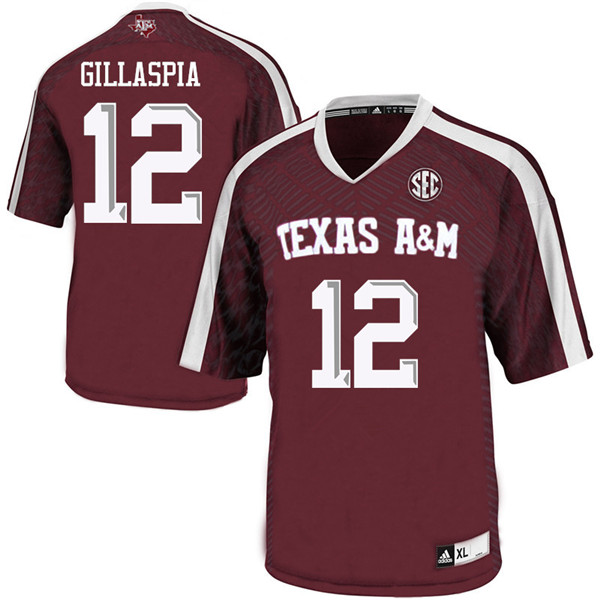 Men #12 Cullen Gillaspia Texas Aggies College Football Jerseys Sale-Maroon