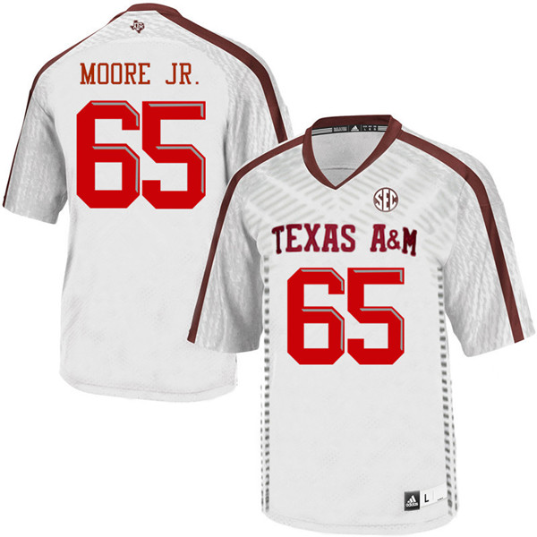 Men #65 Dan Moore Jr. Texas Aggies College Football Jerseys Sale-White
