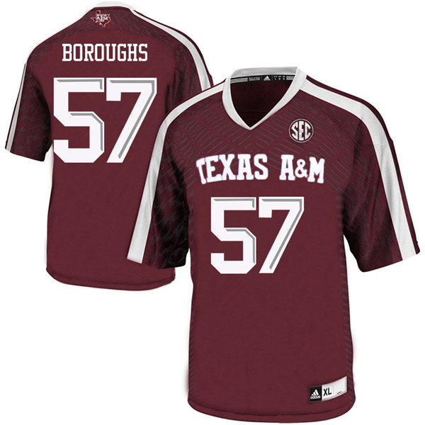 Men #57 Drew Boroughs Texas Aggies College Football Jerseys Sale-Maroon