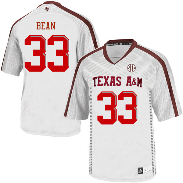 Men #33 Justice Bean Texas Aggies College Football Jerseys Sale-White