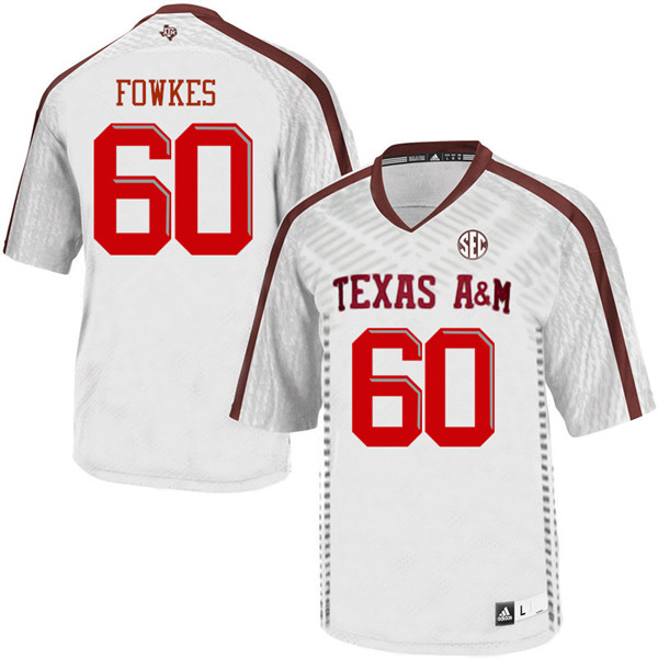 Men #60 Miles Fowkes Texas Aggies College Football Jerseys Sale-White
