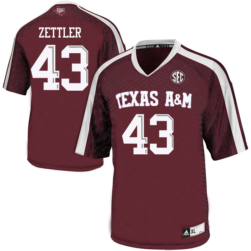 Men #43 Alex Zettler Texas A&M Aggies College Football Jerseys Sale-Maroon