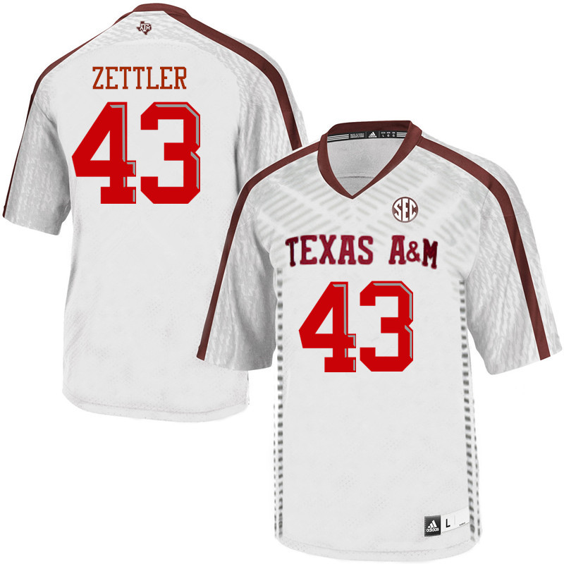 Men #43 Alex Zettler Texas A&M Aggies College Football Jerseys Sale-White
