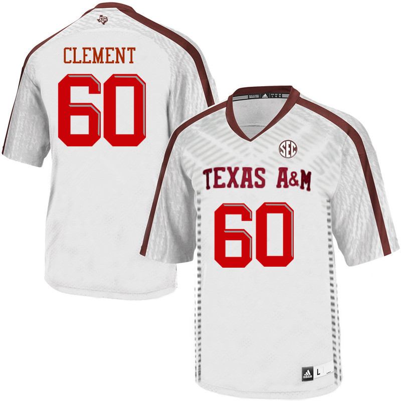 Men #60 Barton Clement Texas A&M Aggies College Football Jerseys Sale-White