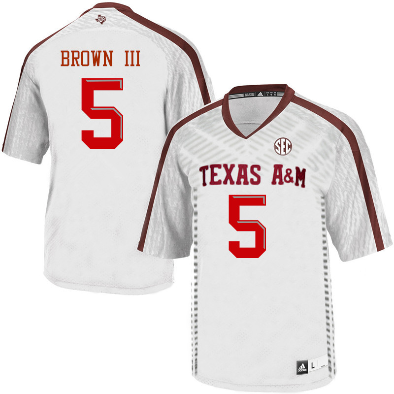 Men #5 Bobby Brown III Texas A&M Aggies College Football Jerseys Sale-White