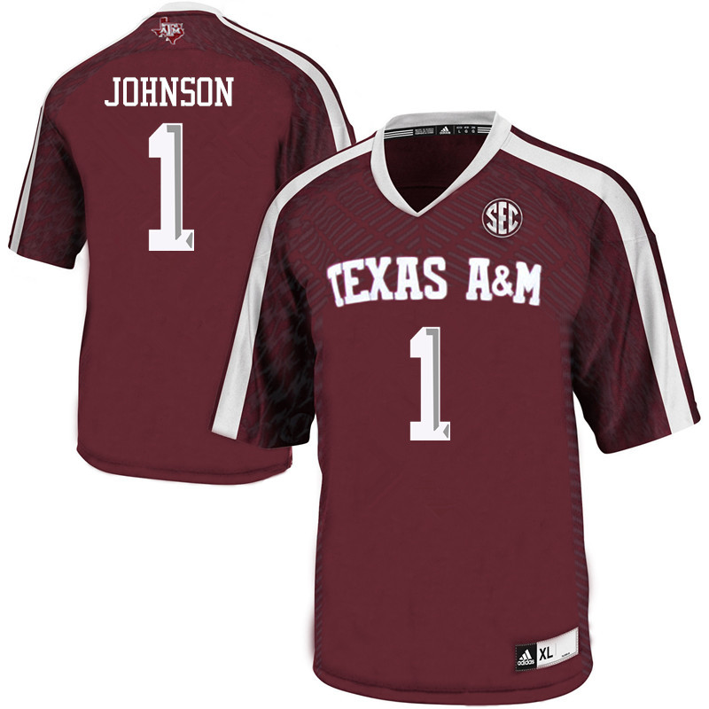 Men #1 Buddy Johnson Texas A&M Aggies College Football Jerseys Sale-Maroon