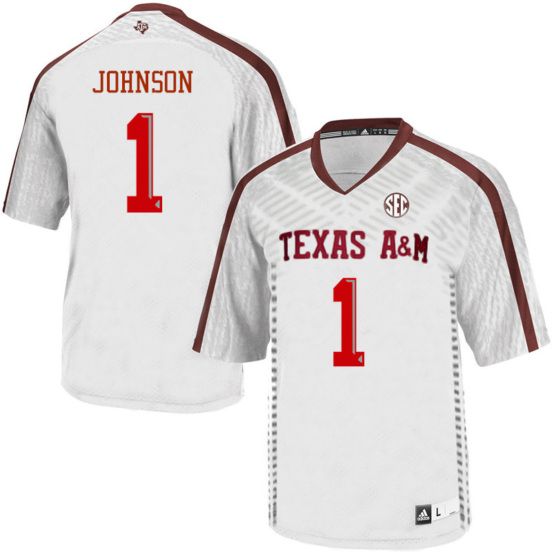 Men #1 Buddy Johnson Texas A&M Aggies College Football Jerseys Sale-White