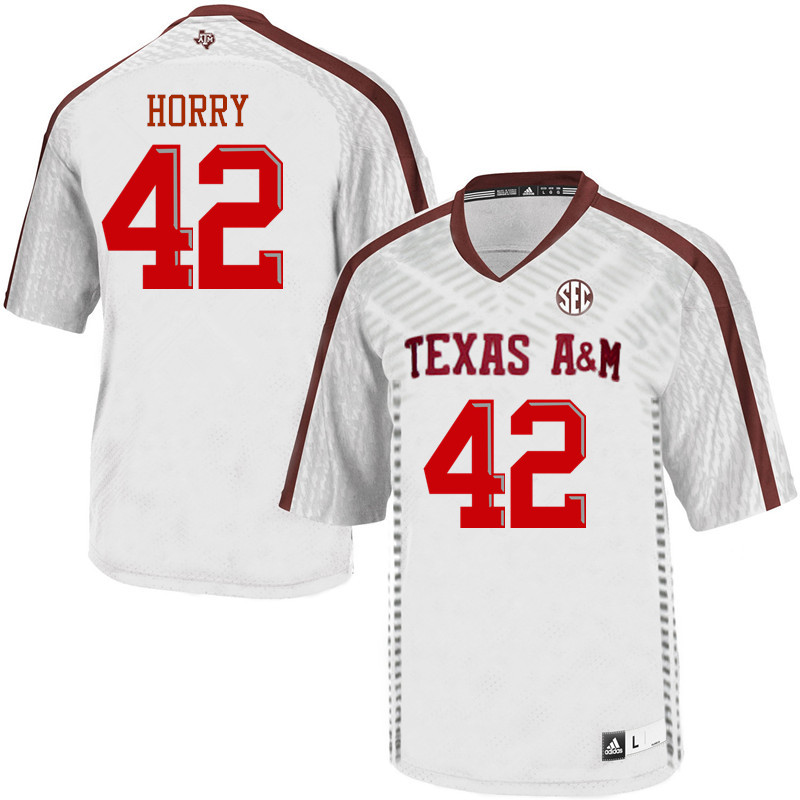 Men #42 Camron Horry Texas A&M Aggies College Football Jerseys Sale-White