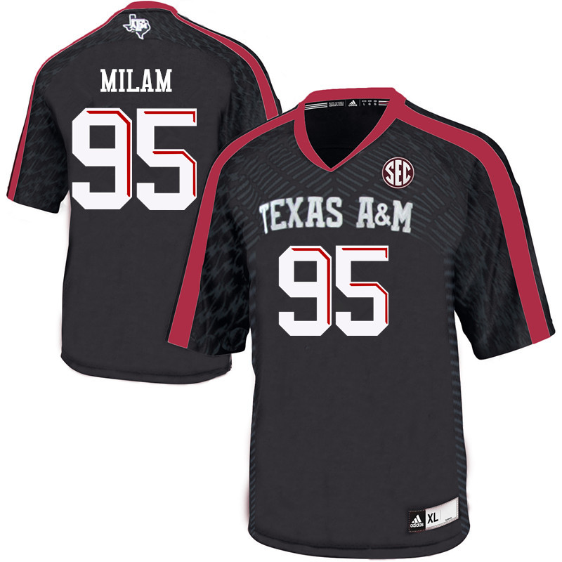 Men #95 Danny Milam Texas A&M Aggies College Football Jerseys Sale-Black
