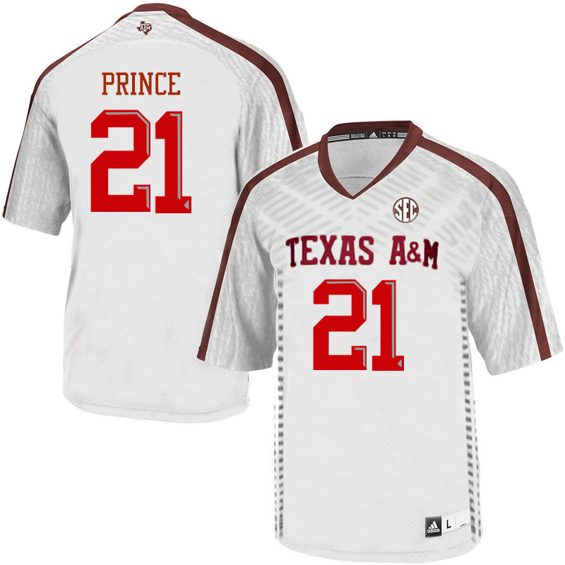Men #21 Deneric Prince Texas A&M Aggies College Football Jerseys Sale-White