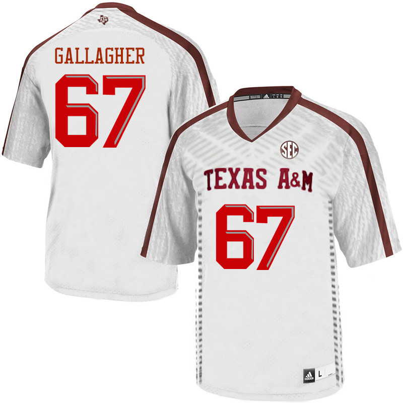 Men #67 Galen Gallagher Texas A&M Aggies College Football Jerseys Sale-White