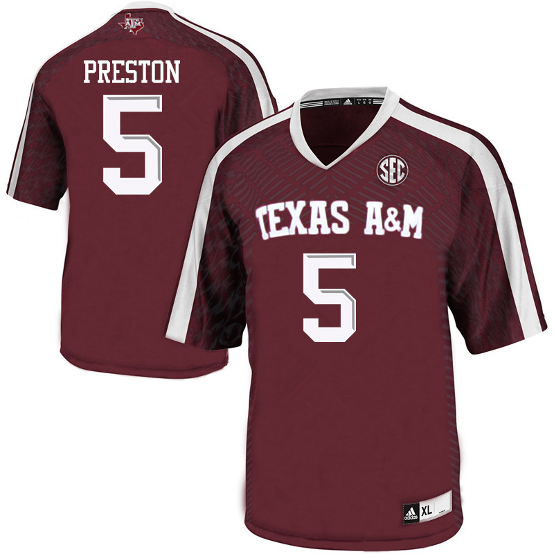 Men #5 Jalen Preston Texas A&M Aggies College Football Jerseys Sale-Maroon