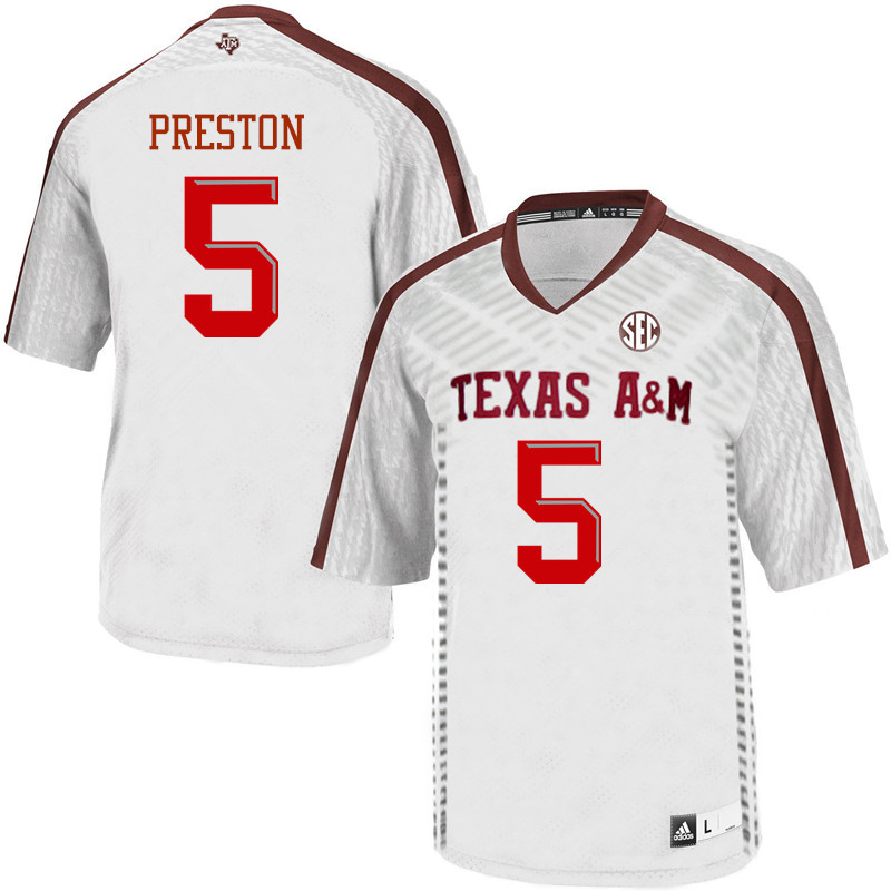 Men #5 Jalen Preston Texas A&M Aggies College Football Jerseys Sale-White