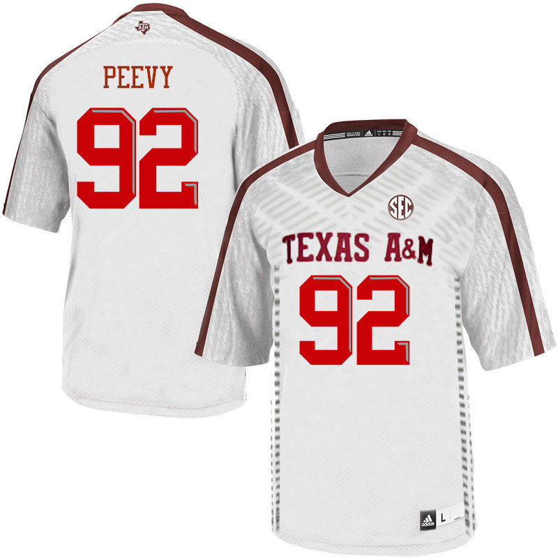 Men #92 Jayden Peevy Texas A&M Aggies College Football Jerseys Sale-White