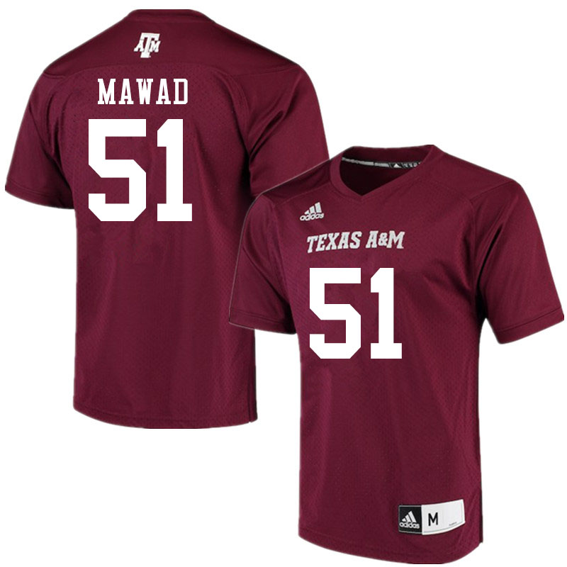 Men #51 Joseph Mawad Texas A&M Aggies College Football Jerseys Sale-Maroon Alumni Player