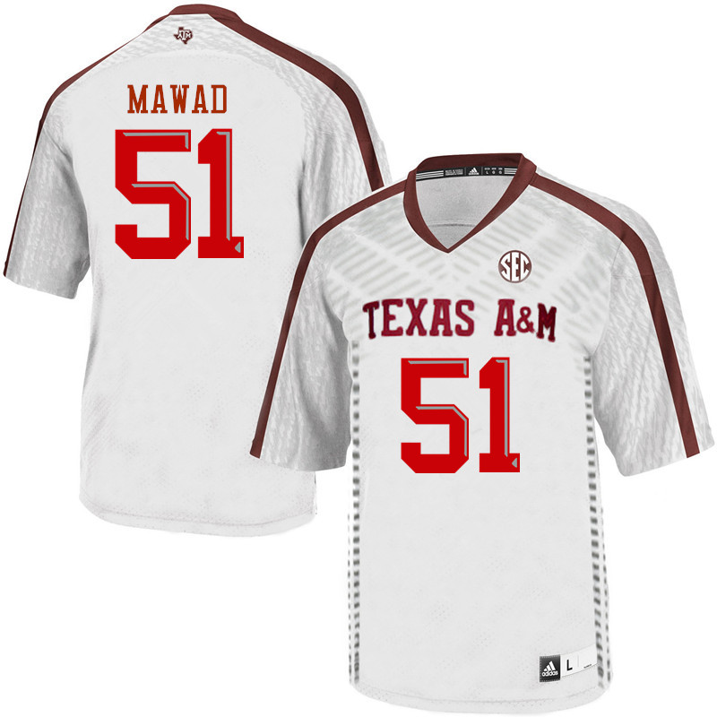 Men #51 Joseph Mawad Texas A&M Aggies College Football Jerseys Sale-White