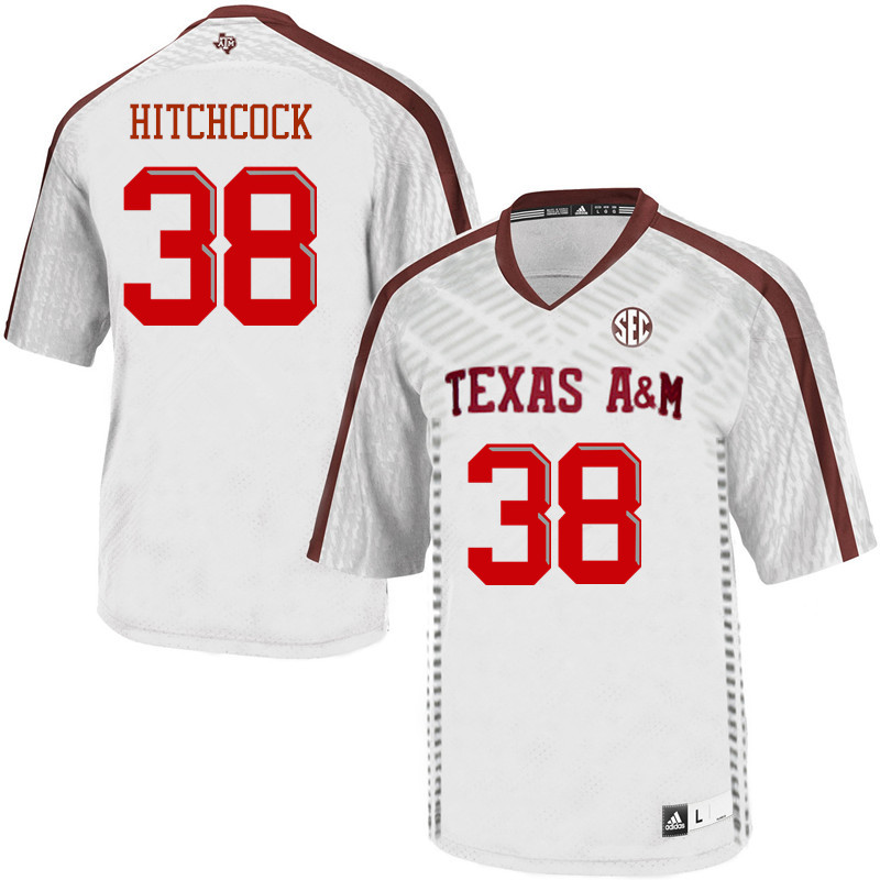 Men #38 Konnor Hitchcock Texas A&M Aggies College Football Jerseys Sale-White