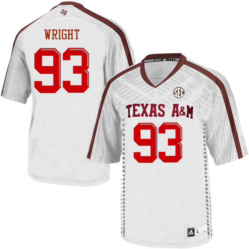 Men #93 Max Wright Texas A&M Aggies College Football Jerseys Sale-White