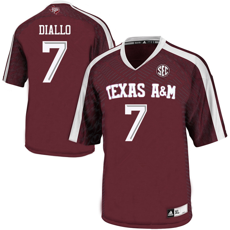 Men #7 Mohamed Diallo Texas A&M Aggies College Football Jerseys Sale-Maroon