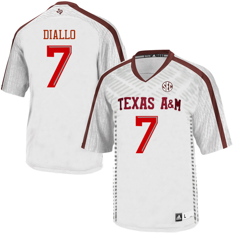 Men #7 Mohamed Diallo Texas A&M Aggies College Football Jerseys Sale-White