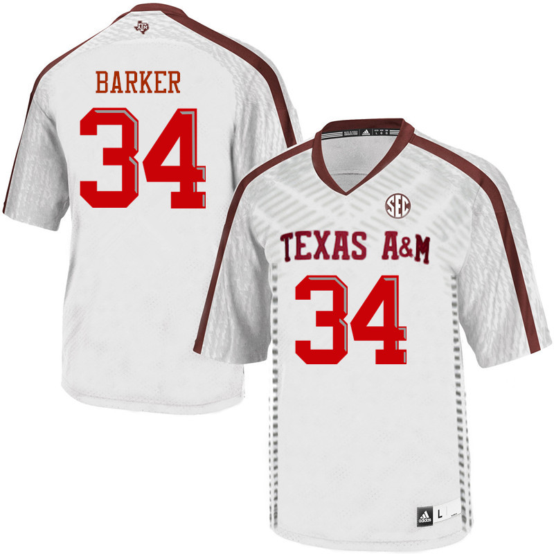 Men #34 Noah Barker Texas A&M Aggies College Football Jerseys Sale-White