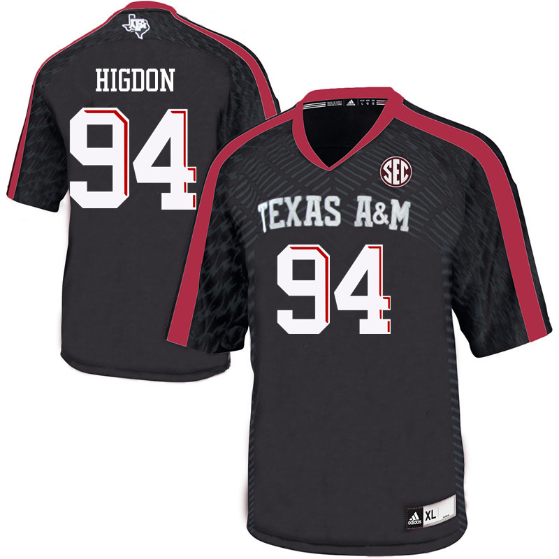 Men #94 Spencer Higdon Texas A&M Aggies College Football Jerseys Sale-Black