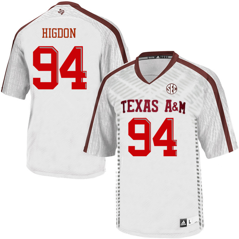 Men #94 Spencer Higdon Texas A&M Aggies College Football Jerseys Sale-White