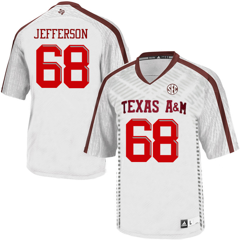 Men #68 Jordan Jefferson Texas A&M Aggies College Football Jerseys Sale-White