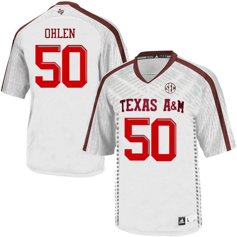 Men #50 Kyle Ohlen Texas A&M Aggies College Football Jerseys Sale-White