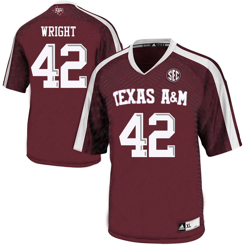 Men #42 Max Wright Texas A&M Aggies College Football Jerseys Sale-Maroon
