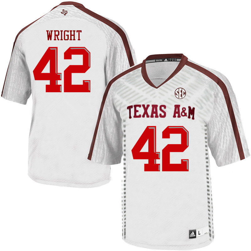 Men #42 Max Wright Texas A&M Aggies College Football Jerseys Sale-White