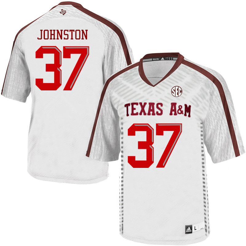 Men #37 Reed Johnston Texas A&M Aggies College Football Jerseys Sale-White