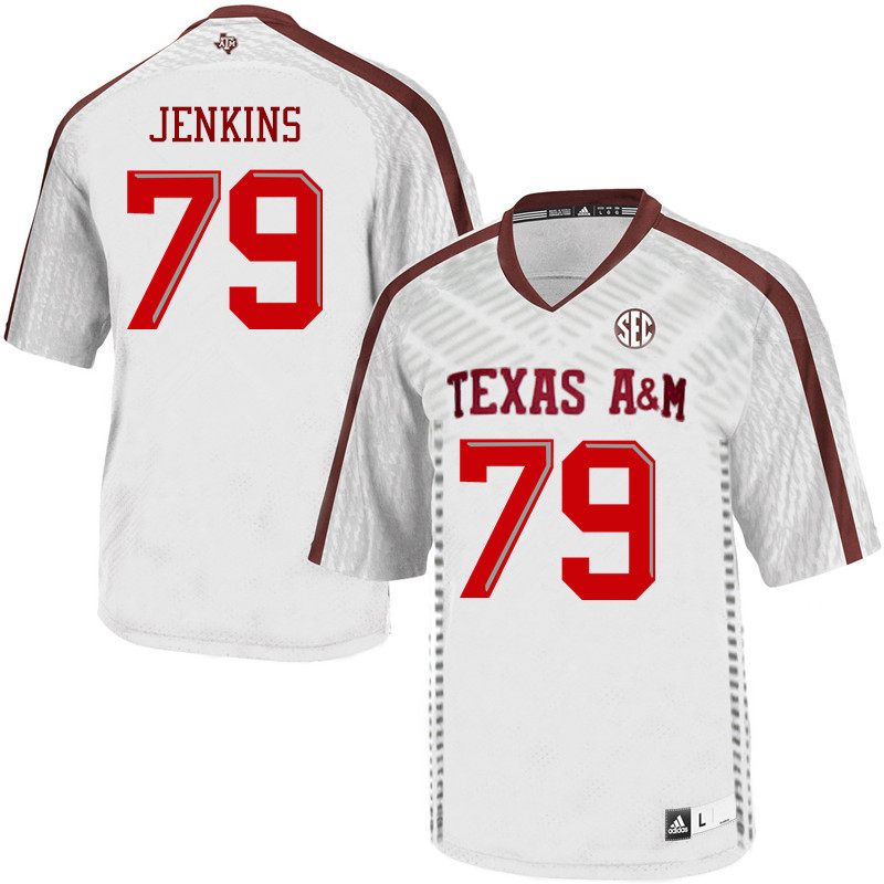 Men #79 Tank Jenkins Texas A&M Aggies College Football Jerseys Sale-White