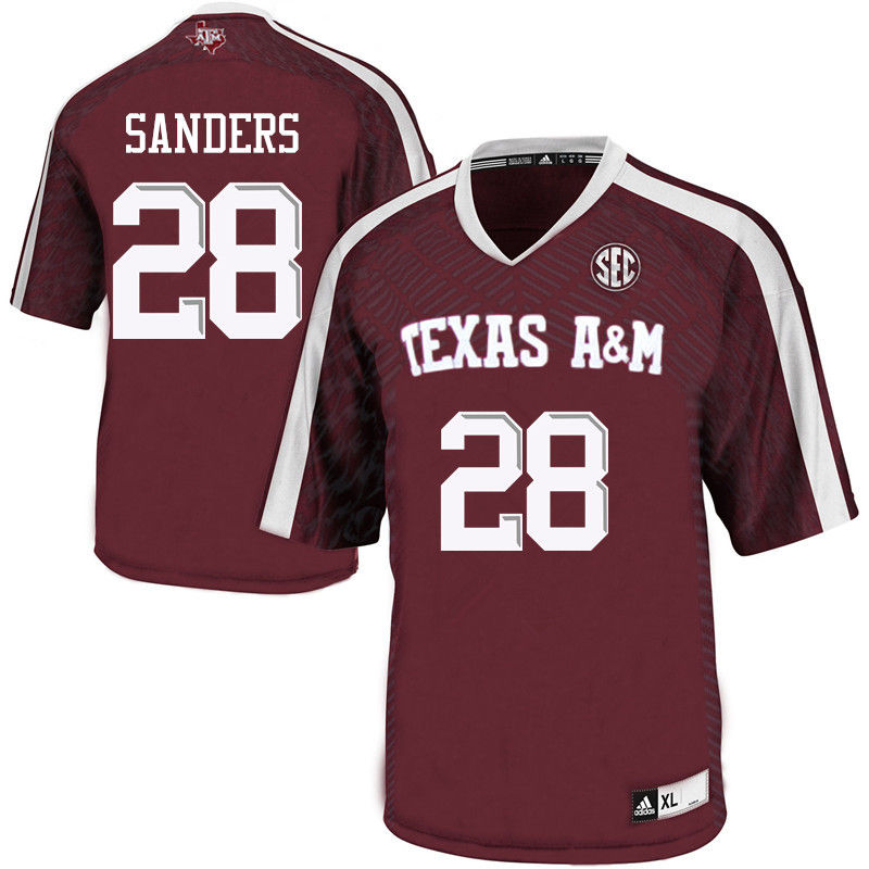 Men #28 A.J. Sanders Texas A&M Aggies College Football Jerseys-Maroon