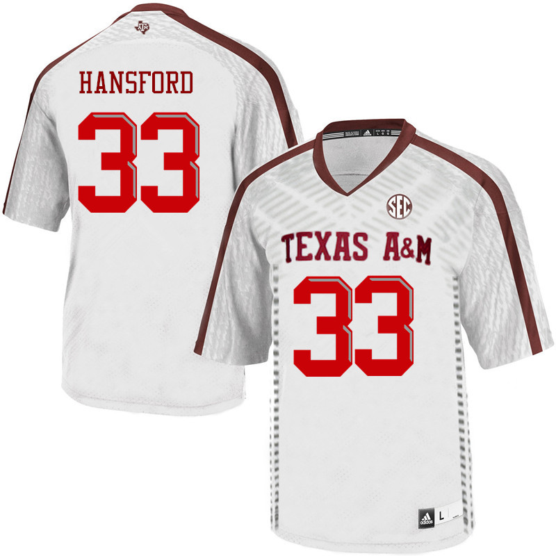 Men #33 Aaron Hansford Texas A&M Aggies College Football Jerseys Sale-White