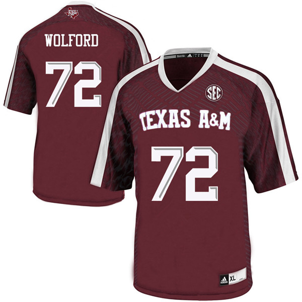 Men #72 Adrian Wolford Texas A&M Aggies College Football Jerseys Sale-Maroon