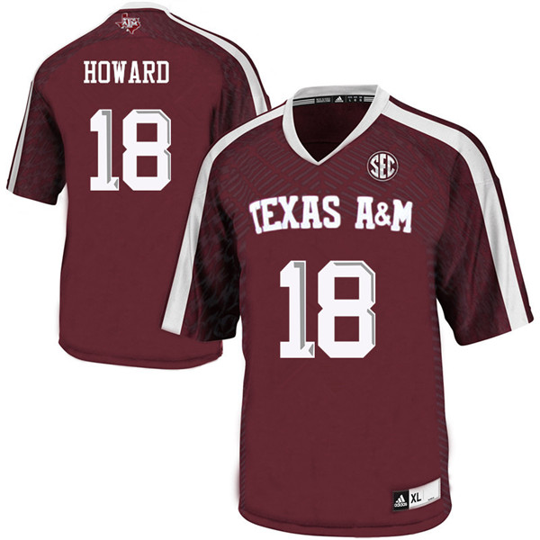 Men #18 Antonio Howard Texas A&M Aggies College Football Jerseys Sale-Maroon