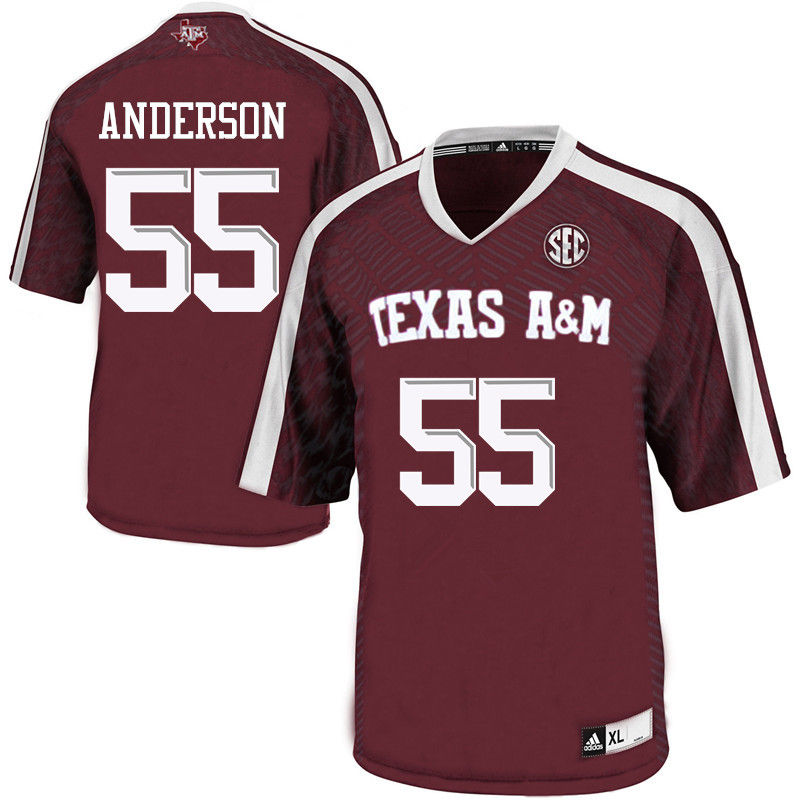 Men #55 Austin Anderson Texas A&M Aggies College Football Jerseys-Maroon