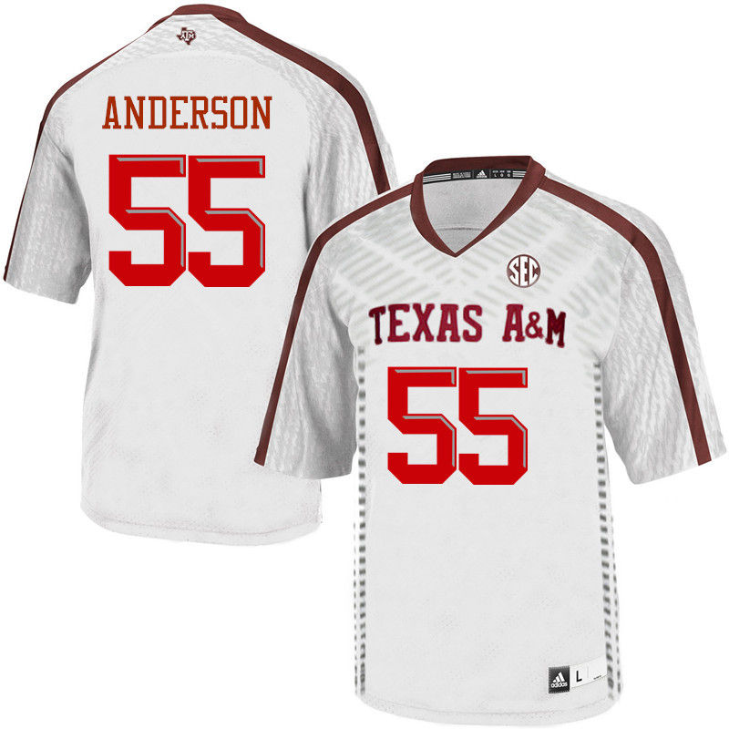 Men #55 Austin Anderson Texas A&M Aggies College Football Jerseys-White