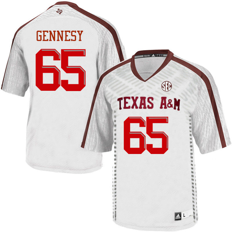 Men #65 Avery Gennesy Texas A&M Aggies College Football Jerseys-White