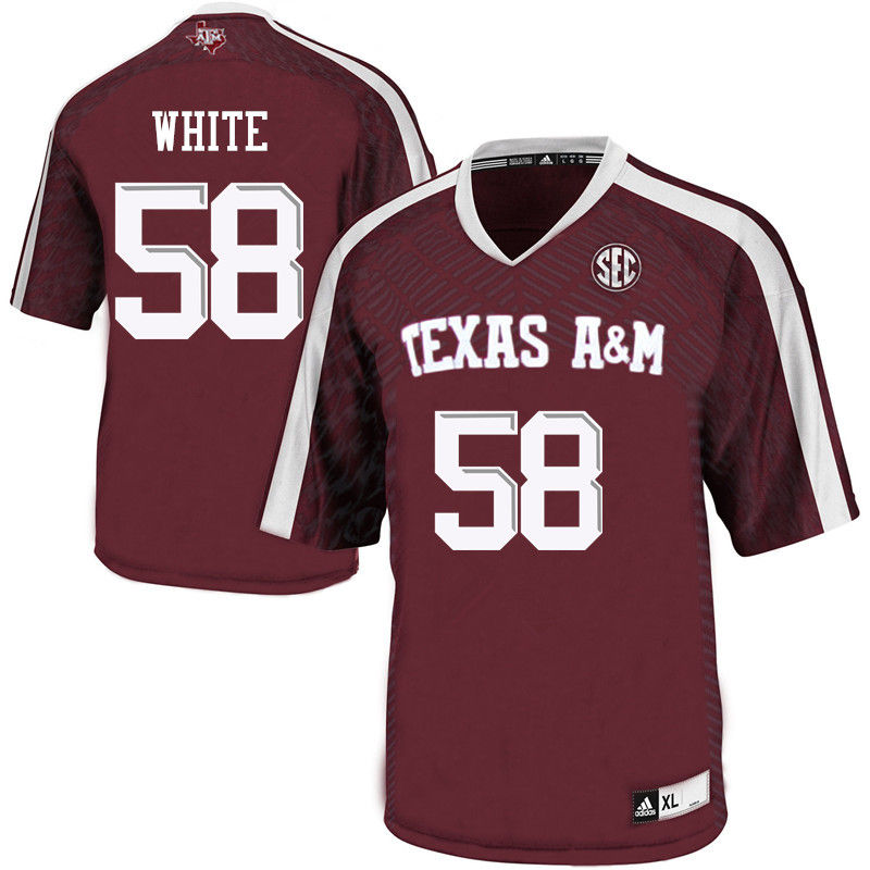 Men #58 Braden White Texas A&M Aggies College Football Jerseys-Maroon