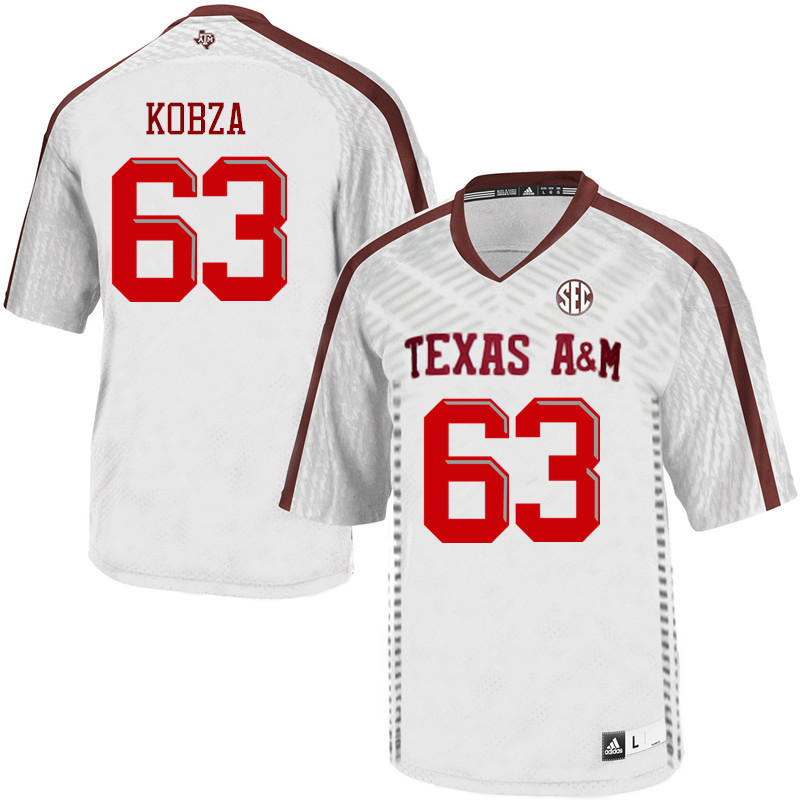 Men #63 Braeden Kobza Texas A&M Aggies College Football Jerseys Sale-White