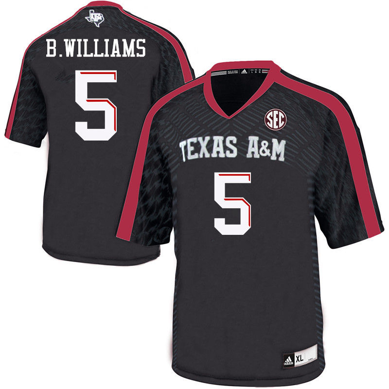 Men #5 Brandon Williams Texas A&M Aggies College Football Jerseys-Black