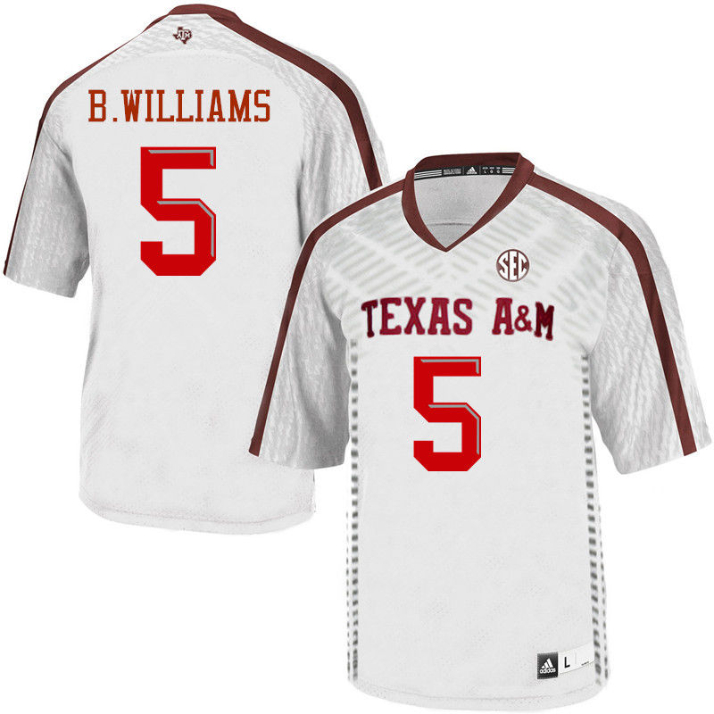 Men #5 Brandon Williams Texas A&M Aggies College Football Jerseys-White
