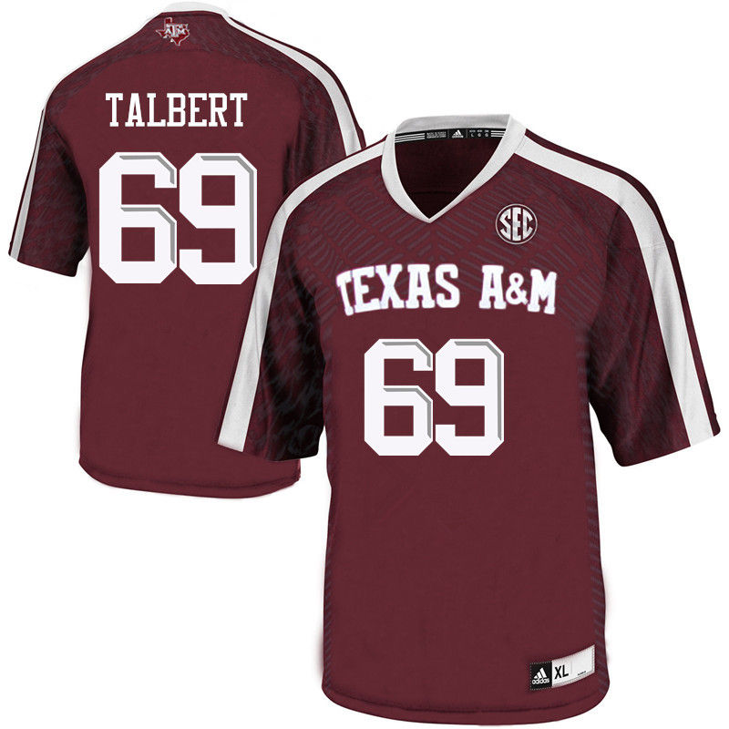 Men #69 Brayden Talbert Texas A&M Aggies College Football Jerseys-Maroon
