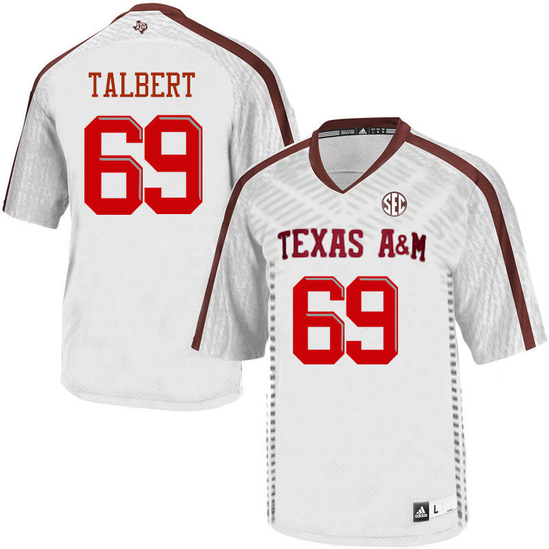 Men #69 Brayden Talbert Texas A&M Aggies College Football Jerseys-White