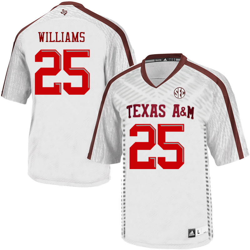 Men #25 Brian Williams Texas A&M Aggies College Football Jerseys Sale-White