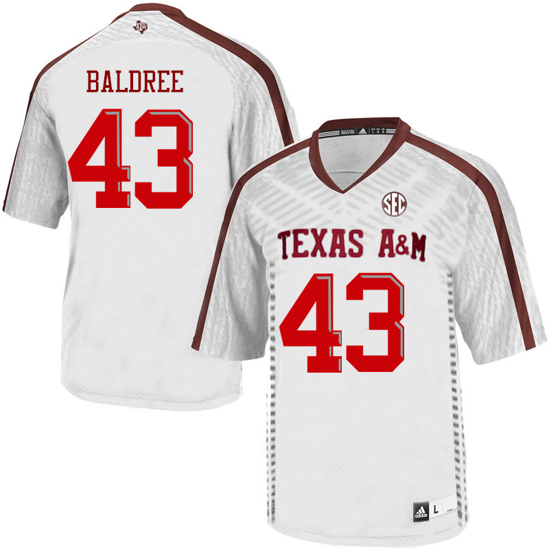 Men #43 Cagan Baldree Texas A&M Aggies College Football Jerseys Sale-White